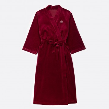 Velour long robe red